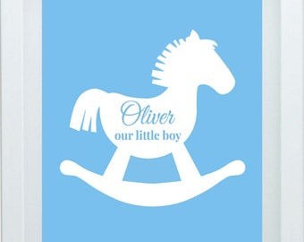 Baby Rocking Horse Art For Boy Custom Name Blue Green Nursery Art Print One 8X10 Choose Your Color Christmas Gift