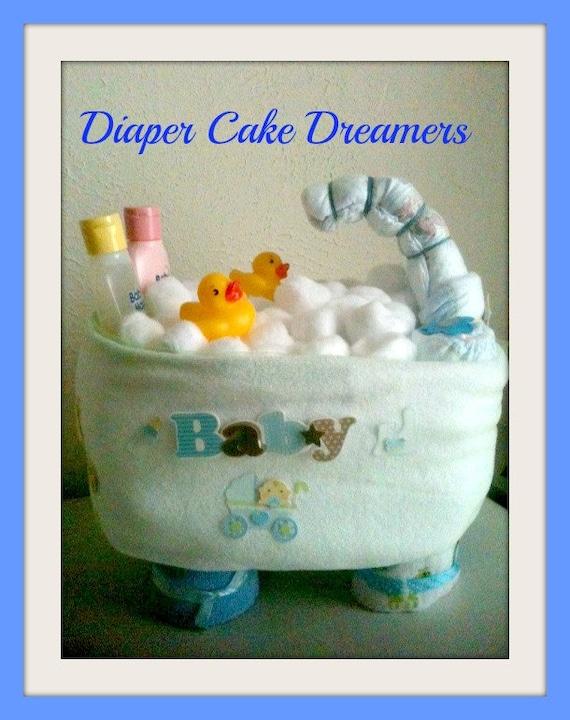 Items Similar To Mini Bathtub Diaper Cake On Etsy