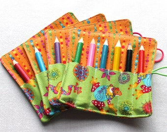 Mini Pencil or Crayon Roll - includes 6 pencils - 'Bright Frogs' - perfect party favor - neon green, pink, yellow
