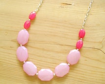 Hot pink statement necklace, Blush pink and Hot pink necklace