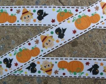 """3 yards Fall Ribbon Pumpkin Ribbon Printed Ribbon 1"""" Hair Bow Ribbon"""