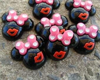 2 Valentine Minnie Mouse Resin heads Hair Bow Resin Hair Bow Center