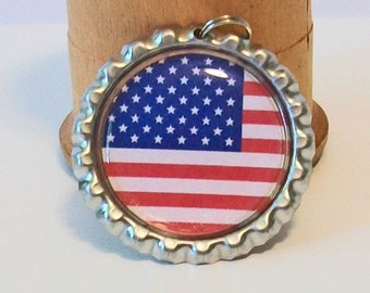 Patriotic American Flag Flattened Bottlecap Pendant Necklace All 50 State Flags Available