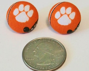 Fun Orange and White Paw Print Clemson Tigers Inspired Fabric Button Pierced Earrings