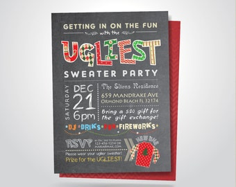 Printable Ugliest Sweater Christmas Holiday Party Invitation, Double Sided