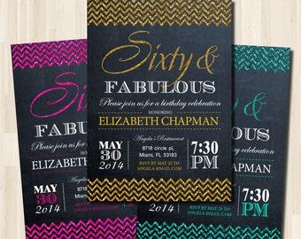 Adult Birthday Printable invitation. Woman in 30th - 40th - 50th - 60th - 70th / DIY / Chalkboard Theme Invitation