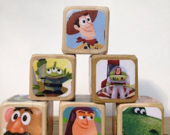 Toy Story // Childrens Book Blocks // Natural Wood Toy