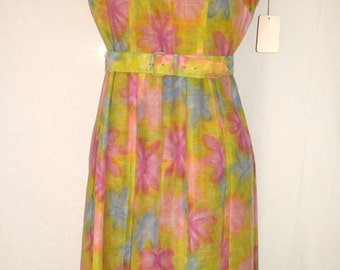 "Sale - all clothing! See shop announcement — 1960s Vintage ""Mode O' Day"" Watercolor Flowers Print Nylon Day Dress — Size 12"