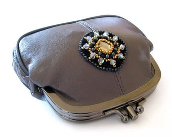 """Decorated grey leatherette purse """"Early spring"""""""