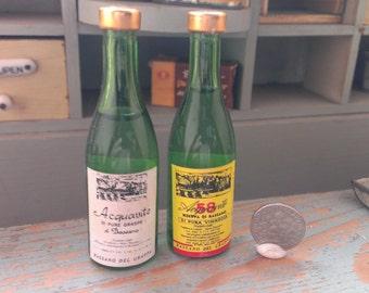 2 Vintage Grappa Bottles Dollhouse general store Dollhouse collectors Glassbottles