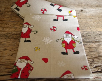 CLEARANCE Christmas Linen Tea Towel Santa Claus