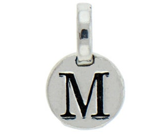 1 pcs - Round Silver Initial Charm 9mm Letter M - by TIJC - SPRM