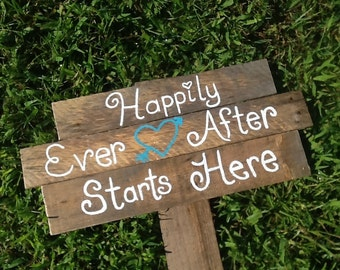 Happily ever after wedding,  rustic wedding sign, country wedding sign, beach wedding sign, barn wedding sign