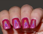 NEW  Pink Flamingo Handmade Holographic Glitter Nail Polish / Lacquer FULL SZ