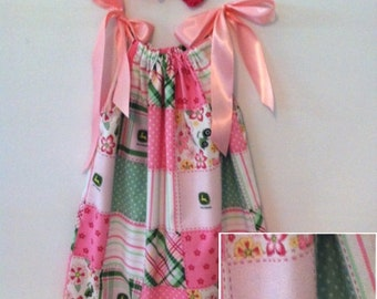 Pretty Pink Tractor Pillowcase Dress