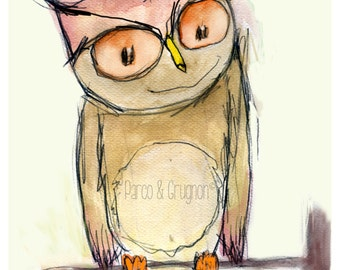 Child edition. Owl. Illustration edition print by Paco Valverde