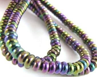 Iris Purple Czech Glass 4mm Rondelle Beads 100pc #510