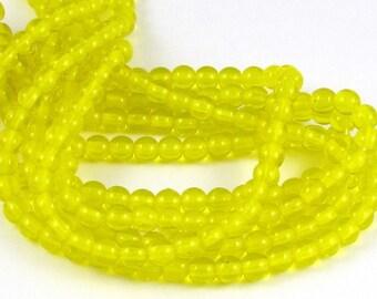 Lemon Yellow Transparent 4mm  Smooth Round Czech Glass  Beads 100pc #365