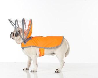 Dog Raincoat - Safety Orange - Lightning Line