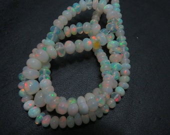 16 Inches Ethiopian Opal Smooth Rondells Very Good Quality Full Flashy Fire Natural Color  Size 3 mm To 6 mm  Approx