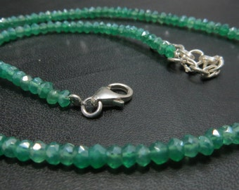 16 Inches Green Onix Coated  Single Strand Necklace With 92.5 Sterling Silver Stone Size 3 mm Approx