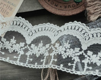 White Lace Trim, Scalloped Lace, Victorian Lace Trim, Embroidery Lace, 2 Yards