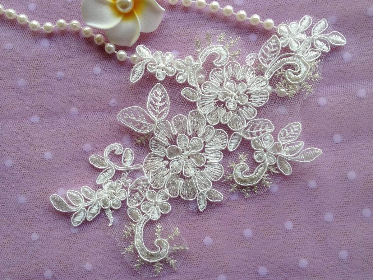 Ivory Floral Lace Applique Bridal Applique Lace For Diy