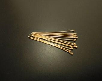 Beautiful Vermeil Ball Headpins, 24k gold over 925 Sterling Silver, Ball pins - 24 gauge, g, 30 mm, 25 pcs (BP2430VM)