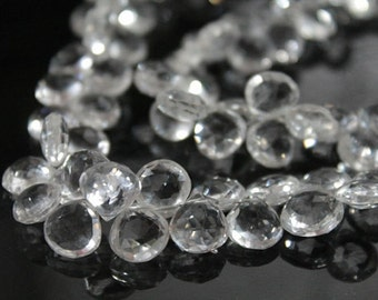 Clear Rock Crystal Faceted Heart Briolettes, 9-11 mm, 6 beads GM1201FH/11 #75