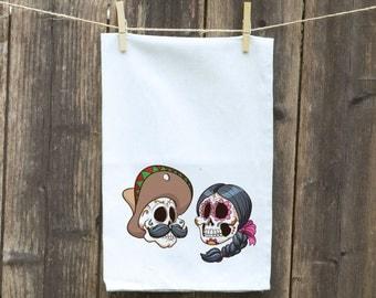 Tea Towels-Kitchen-Hand-Flour Sack-Dish -Customizable Tea Towels-Country Skull Heads