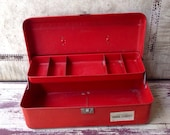 Vintage Red Metal Toolbox Union Tool Chest Tool Box Storage, Store Display, Collection - TheRustyTurnip