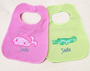 Preppy animals: whale and alligator machine appliqué designs in 3 sizes. Simple & cute whale and alligator designs are perfectly preppy