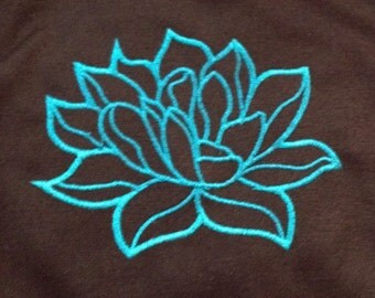 Modern and elegant lotus flower applique / embroidery design.  Simple lotus flower is perfect symbol of good fortune in Buddhism