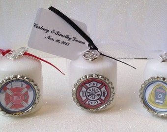 10 Fire Fighter Candle Favors, Fire Fighter Favors, Fire Fighter Decorations, Fire Fighter Retirement, Fire Fighter Promotion, Fireman Gift