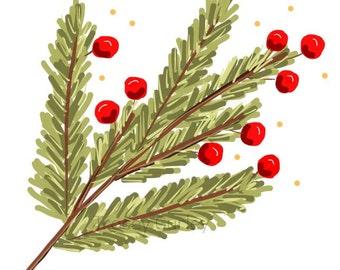 Pine Branch with Berries Original Art Download  - Printable