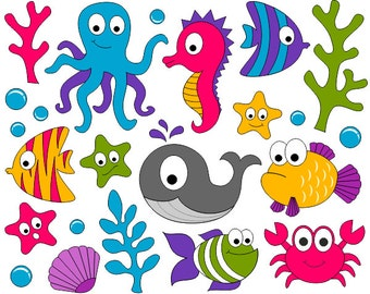 Under The Sea Clip Art - Ocean Digital ClipArt - Fishes, Whale, Crab, Seahorse - Instant Download Clipart - YDC042