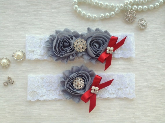 wedding garter , ivory bridal garter, ivory lace garter, grey chiffon flowers,crystal rhinestone and red bow