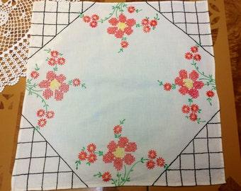 1950's Cross Stitch Embroidered Flour Sack