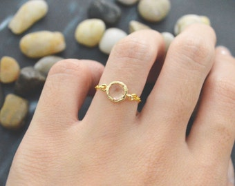 E-012 Gold champagne chain ring, Round yellow stone