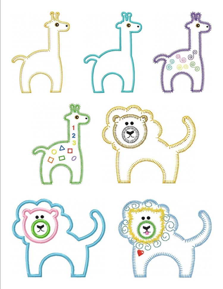Set Of Zoo Animal Applique Machine Embroidery By VStitchDesigns