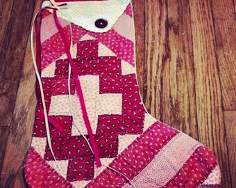 Custom Made to Order Vintage Quilt Stocking - RED