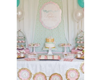 Elegant Shabby Chic Baptism Party - Printable Customized Package
