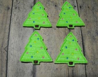 Christmas Tree felties, feltie, machine embroidered, felt applique, hair bow center, felt embellishment, hair bow supplies,felt planner clip