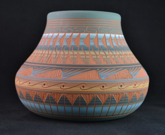 Reserved For Terri Robinson Carved Navajo Pottery Vase Signed