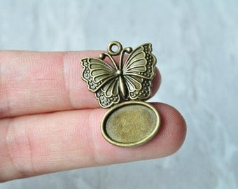 10pcs 14x10mm Antique Bronze Filigree Butterfly Oval Cameo Cabochon Base Setting Charm Pendant 27x21mm PP045