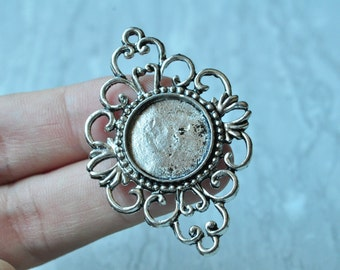 6pcs Antique Silver Large Flower Round Cameo Cabochon Base Settings Match 18mm PP116