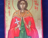 Saint Barbara.hand painted icon.byzantine icon.greek icon.religious icon.mother of virgin mary.gift.Saint icon.christian icons.greek  art