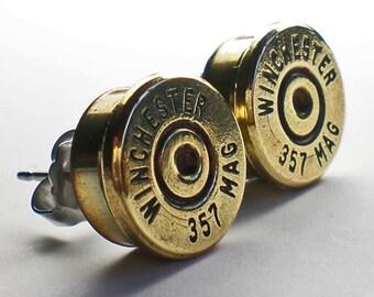 357 Magnum Winchester Brass Bullet Head Stud Post Earrings Bullet Jewelry Steampunk