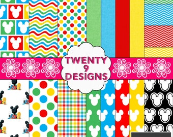 Mickey Mouse Clubhouse Inspired Digital Paper Pack - INSTANT DOWNLOAD