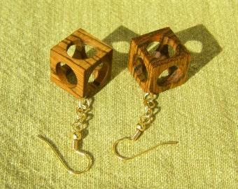 Hollow Cube Bocote Wood Earrings